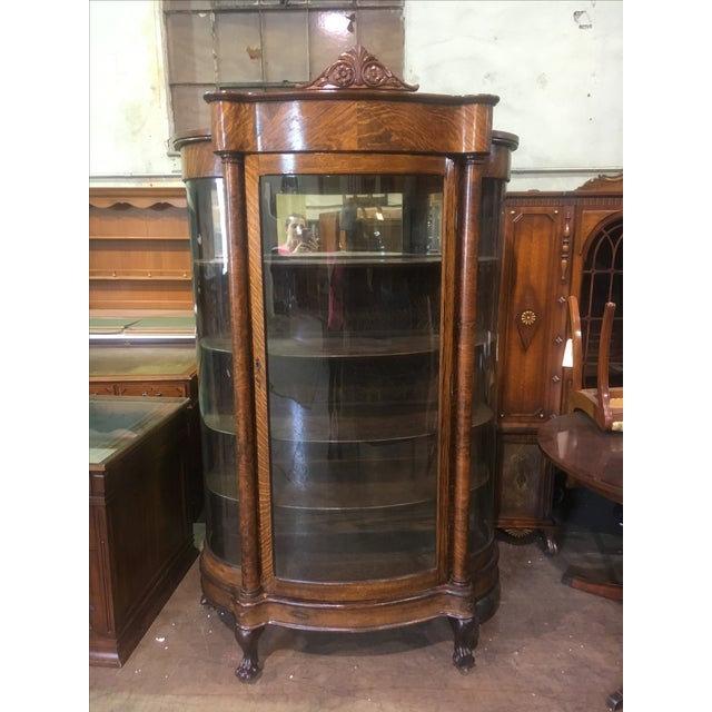 Antique Curved Glass Oak China Cabinet - Image 3 of 11 - Antique Curved Glass Oak China Cabinet Chairish