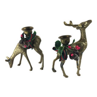 Vintage Brass Deer Holiday Candlestick Holders - A Pair