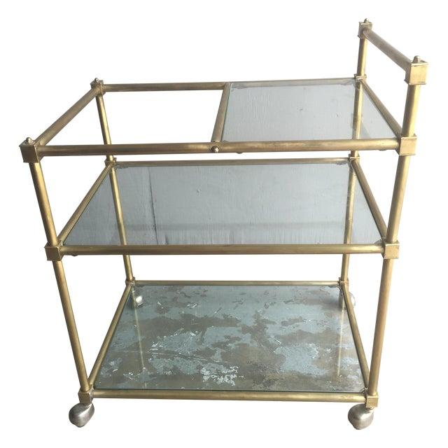 Vintage Mid Century Brass Bar Cart - Image 1 of 6