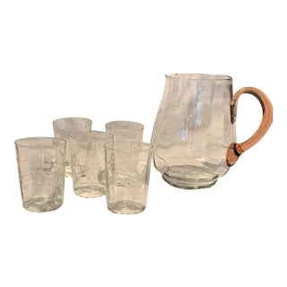 Glasses and Pitcher With Etched Grapes - Set of 5