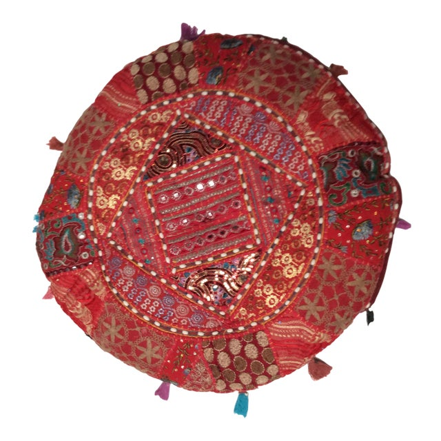Vintage Moroccan Embroidered Pouf Pillow - Image 1 of 3