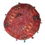 Image of Vintage Moroccan Embroidered Pouf Pillow