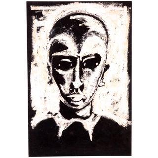 Mid Century Modernist Black & White Woodblock by Jean Margolin