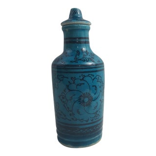 Teal Floral Motif Pottery Bottle