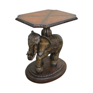 Elephant Sculpture Base Side Table w/ Leather Top