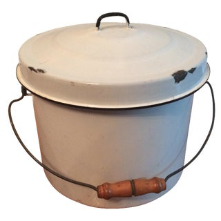 White Enamel Pot with Lid