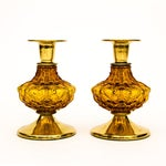 Image of Brass & Amber Candleholders - Pair