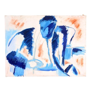 "Circa 1950s Phillip Callahan ""Blue Male Figure"" Painting"