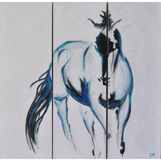 Horse Abstract Triptych Painting