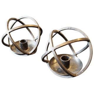 Hand-Crafted Scandinavian Modern Iron Candle Holders, Norway, 1950s - A Pair