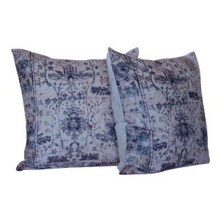 Vintage Blue & White Pillow Print Cover - a Pair-18''