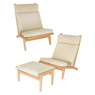 Pair of Blonde Hans Wegner Chairs