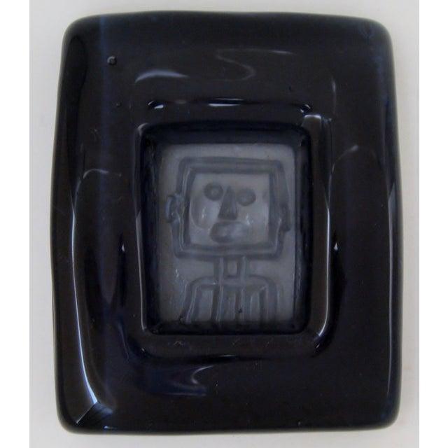 Image of Erik Höglund Vintage Pressed Blue Glass Dish
