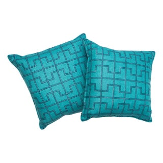 Geometric Teal Pillows - A Pair
