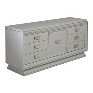 A Six-Drawer Hollywood Regency Soft Grey Lacquered Cabinet, 1950s