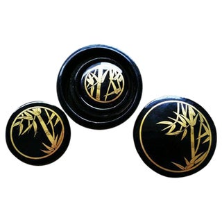 Gilded Black Lacquer Nesting Boxes - Set of 3