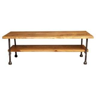 Vintage Industrial Custom Two Tier Wood & Cast Iron, Steel Coffee Table w Shelf