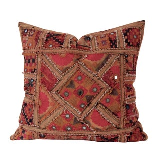 Indian Mirrored Textile Pillow