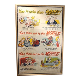 "Large 1930s Original Poster, ""Take Them Out To The Movies"""