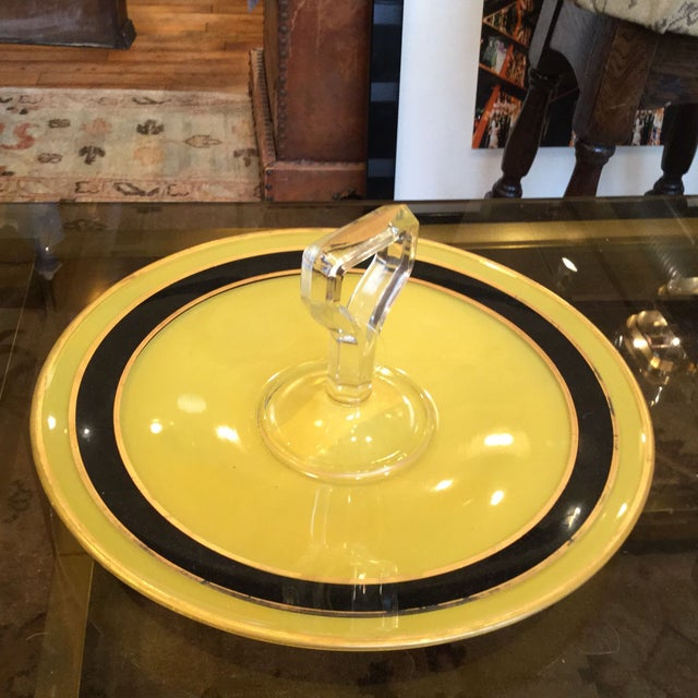 Yellow and Black Art Deco Serving Dish - Image 4 of 8
