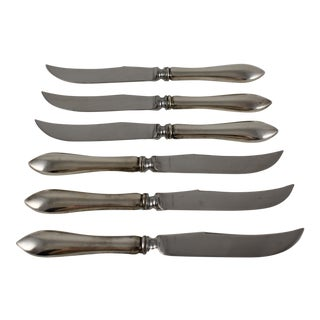 English Sterling Silver Handled Cheese & Fruit Knives - Set of 6