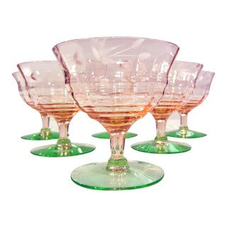 Pink & Green Etched Glass Sherbets - Set of 6