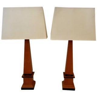 Vintage Wood Obelisk Style Lamps - A Pair