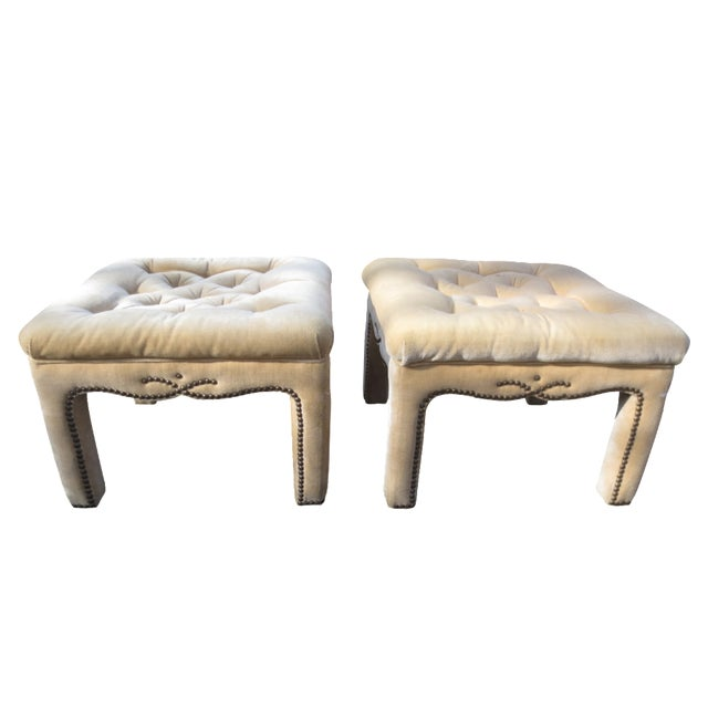 Vintage Parson's Style Ottomans - A Pair - Image 1 of 8