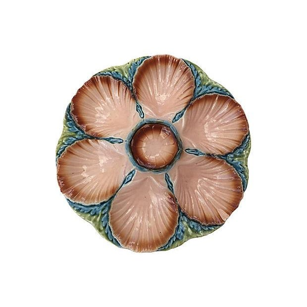 Image of Pink Majolica Oyster Plate