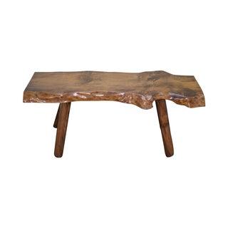 Rustic Slab Wood Coffee Table Bench