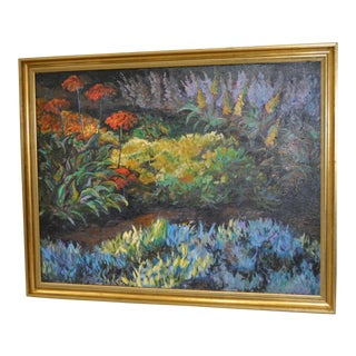 Summer Flowering Garden Oil Painting by Roberta Jones