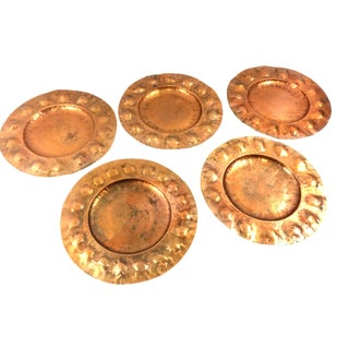 Antique Hand Hammered Copper Chargers - Set of 5