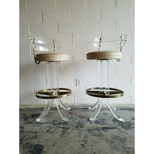 Vintage Lucite & Brass Barstools- A Pair - Image 2 of 6