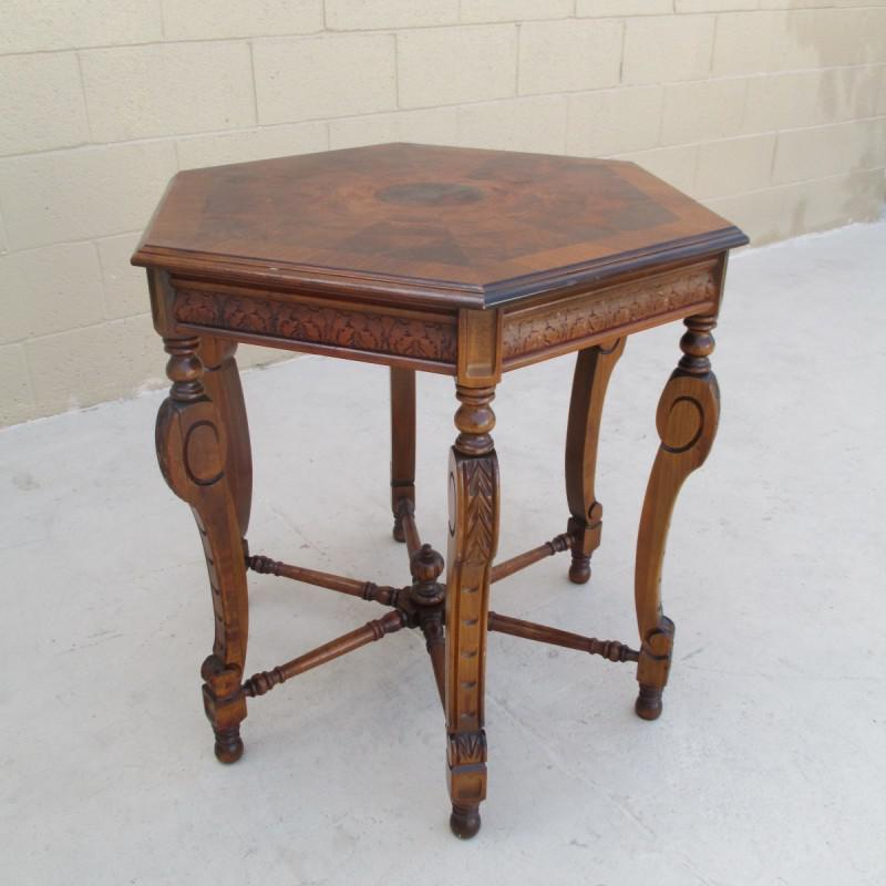 Antique Walnut Lamp Table Side Table Octagon Accent Table   Image 6 Of 8