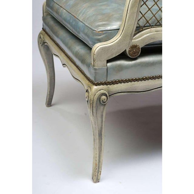Pair of 1940s Carved and Lacquered Lounge Chairs with Blue Leather Upholstery - Image 5 of 7