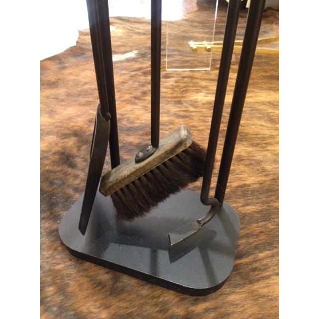 Vintage Modern Black Metal Fireplace Tool Set - Image 6 of 6
