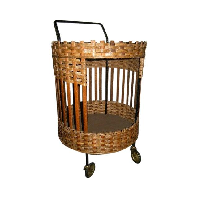 Image of Mid-Century Dutch Wicker Bar Cart