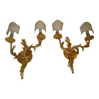 Gold Bronze Branch Sconces - A Pair