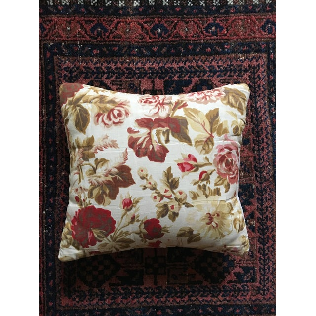 Vintage French Floral & Linen Textile Accent Pillow - Image 2 of 8