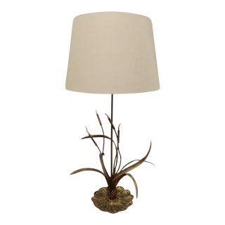 Gilt Cattail Reed Sculptural Table Lamp