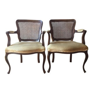 French Provincial Velvet Caned Armchairs - a Pair