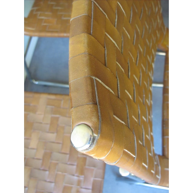 Modern Woven Leather Dining Chairs - Set of 4 - Image 6 of 8