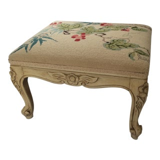 Vintage French Provencal Style Needlepoint Footstool