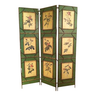 Botanical Folk Art Screen Room Divider