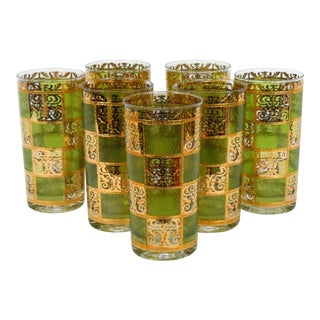 Culver Green and Gold Prado Highballs - Set of 7