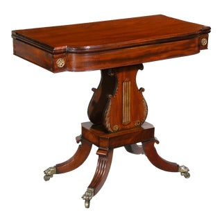 Mahogany Card Table with Faux Painted Lyre