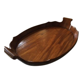 George III Oval Mahogany Tray With Fluted Edge