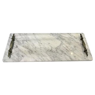 Italian Carrara Marble Handled Cheese Board