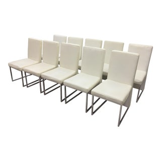 Modern White Leather & Chrome Dining Chairs - Set of 10