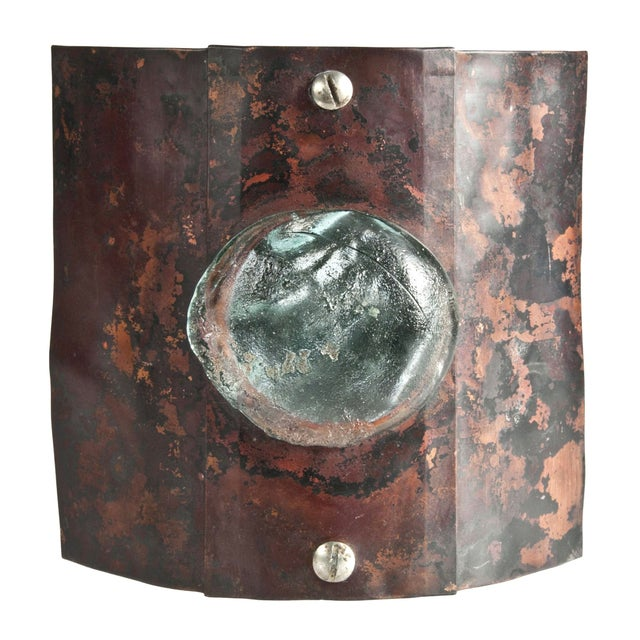 Reclaimed Copper & Glass Wall Sconce - Image 1 of 3